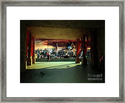 A Woman Spys From The Shadows Framed Print