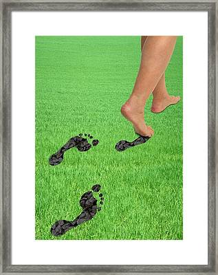 A Woman's Feet Leaving Carbon Footprints Framed Print