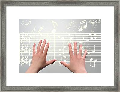 A Woman's Hands  Operating On Digital Music Framed Print by Yagi Studio