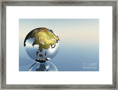 A World Globe Showing The Continents Framed Print by Corey Ford