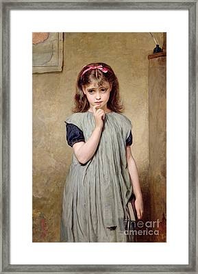 A Young Girl In The Classroom Framed Print by Charles Sillem Lidderdale