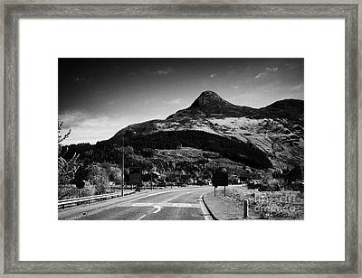 A82 Road Into Glencoe With The Pap Of Glencoe In The Highland Of Scotland Uk Framed Print