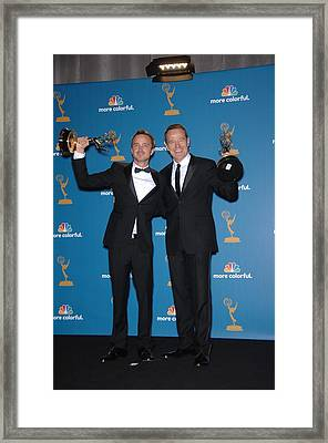 Aaron Paul, Bryan Cranston In The Press Framed Print by Everett