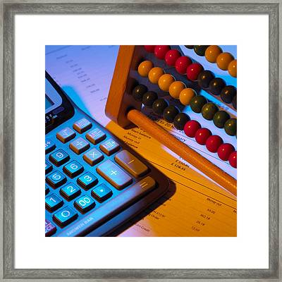 Abacus And Calculator Framed Print by Mark Sykes