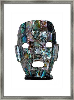 Abalone Mayan Mask Framed Print by Shawn O'Brien