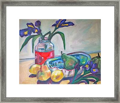 Abalone Shell Fruit And Flowers Framed Print by Michelle Grove