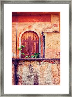 Abandoned Building Door With Leaves Framed Print by Silvia Ganora