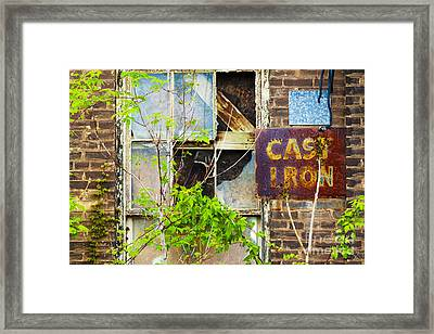 Abandoned Factory With Rusted Metal Sign Framed Print by Gordon Wood