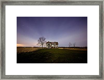 Abandoned Farmhouse At Night Framed Print