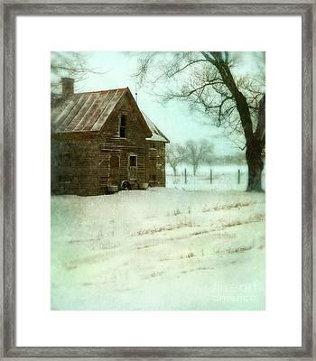 Abandoned Farmhouse In Snow Framed Print