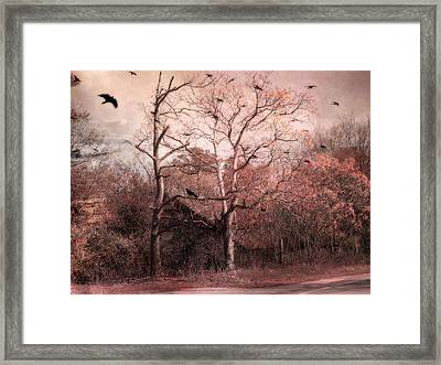Abandoned Haunted Barn With Crows Framed Print by Kathy Fornal