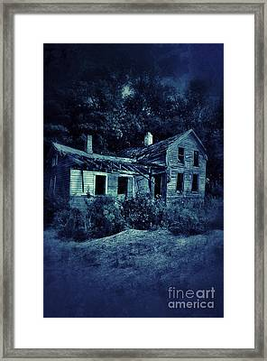 Abandoned House At Night Framed Print by Jill Battaglia
