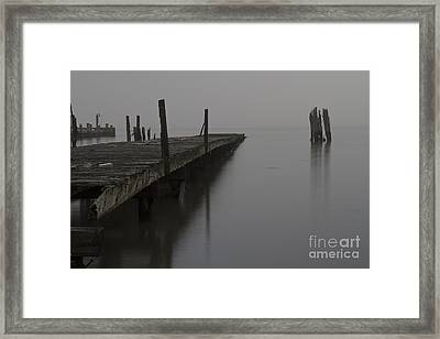 Abandoned Pier 2 On The Hudson River One Foggy Morning. Framed Print by Robert Wirth