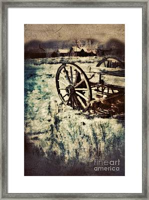 Abandoned Wagon By Old Ghost Town. Framed Print