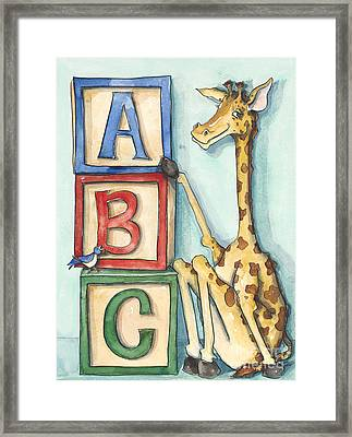 Abc Blocks - Giraffe Framed Print by Annie Laurie