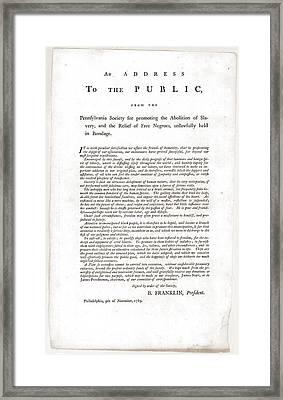 Abolitionist Address By Benjamin Framed Print by Everett