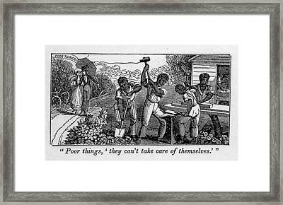 Abolitionist Cartoon Satirizing Slave Framed Print by Everett