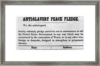 Abolitionist Peace Pledge Framed Print by Granger
