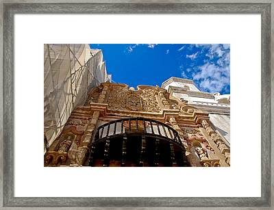 Above The Front Entry San Xavier Mission Framed Print by Jon Berghoff