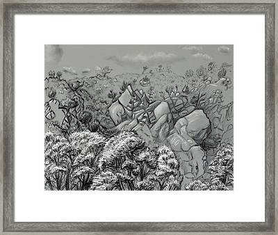 Above The Treetops Field Sketch Framed Print by Dawn Senior-Trask