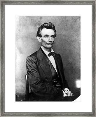 Abraham Lincoln 1860portrait By B Framed Print by Everett