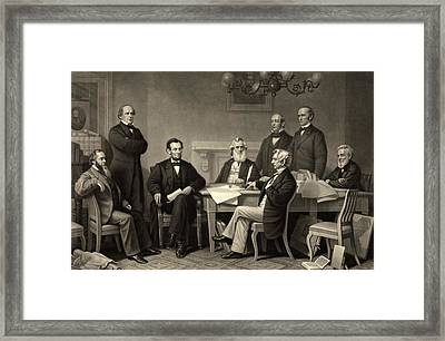 Framed Print featuring the photograph Abraham Lincoln At The First Reading Of The Emancipation Proclamation - July 22 1862 by International  Images