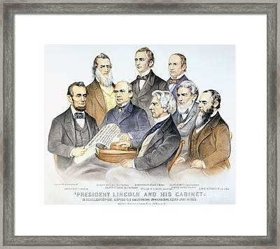 Abraham Lincolns Cabinet Framed Print by Granger