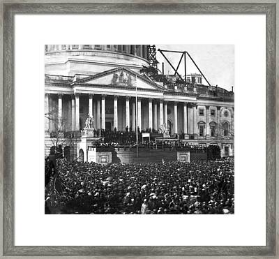 Framed Print featuring the photograph Abraham Lincolns First Inauguration - March 4 1861 by International  Images