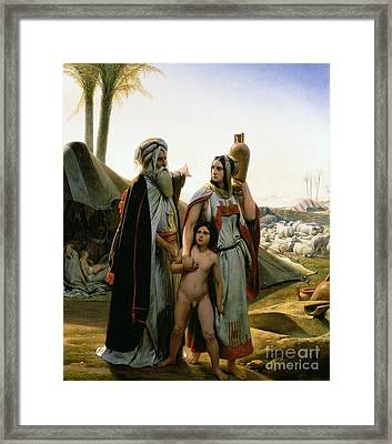 Abraham Turning Away Hagar Framed Print by Emile Jean Horace Vernet