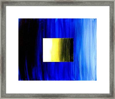 Abstract 3d Golden Blue  Square Framed Print by Teo Alfonso