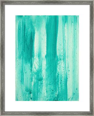 Abstract Art Original Decorative Painting Aqua Passion By Madart Framed Print by Megan Duncanson