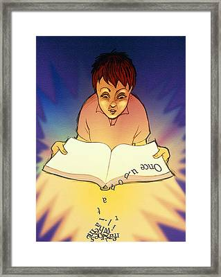 Abstract Artwork Of A Dyslexic Boy Reading A Book Framed Print by David Gifford