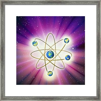 Abstract Artwork Of Earth Arranged As An Atom Framed Print by Mehau Kulyk