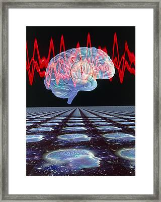 Abstract Artwork Of Human Brain & Eeg Brainwaves Framed Print by Mehau Kulyk