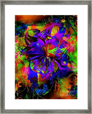 Abstract Blue And Red Framed Print by Doris Wood