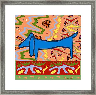 Abstract Blue Dachshund Framed Print by Jerry Schwehm