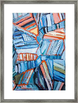 Abstract Blue Faults Framed Print
