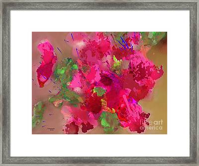 Abstract Bougainvillea Painting Floral Wall Art Framed Print by Judy Filarecki