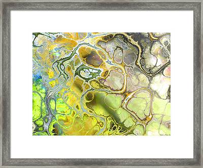 Abstract Browns Blues And Greens Fractal  Framed Print by Debbie Portwood