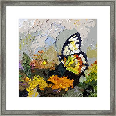Abstract Butterfly On Lantana Framed Print by Ginette Callaway