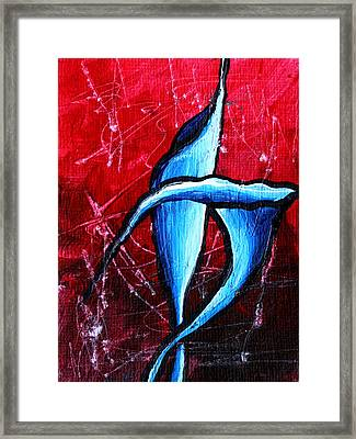 Abstract Calla Lilly Textured Painting Greeting Lillies By Madart Framed Print by Megan Duncanson