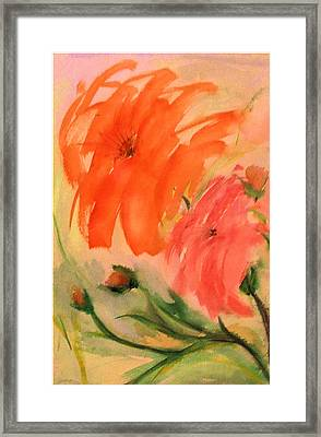 Framed Print featuring the painting Abstract Dahlia's by Alethea McKee