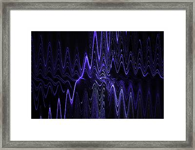 Abstract Digital Blue Waves Fractal Image Black Computer Art Framed Print