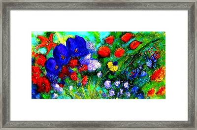 Framed Print featuring the painting Abstract Flowers by Marie-Line Vasseur