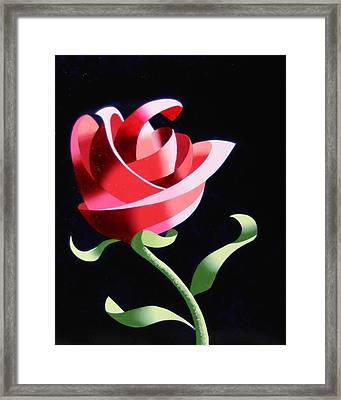 Framed Print featuring the painting Abstract Geometric Cubist Rose Oil Painting 1 by Mark Webster