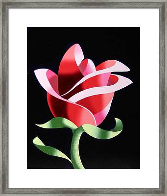 Framed Print featuring the painting Abstract Geometric Cubist Rose Oil Painting 2 by Mark Webster