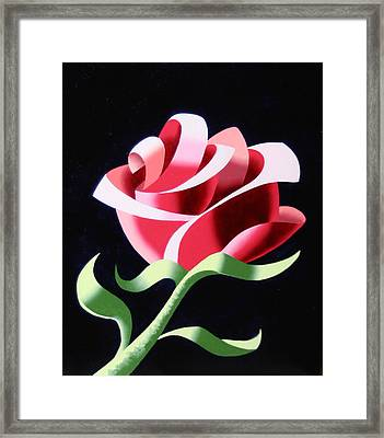 Framed Print featuring the painting Abstract Geometric Cubist Rose Oil Painting 3 by Mark Webster