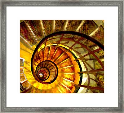 Abstract Golden Nautilus Spiral Staircase Framed Print by Elaine Plesser