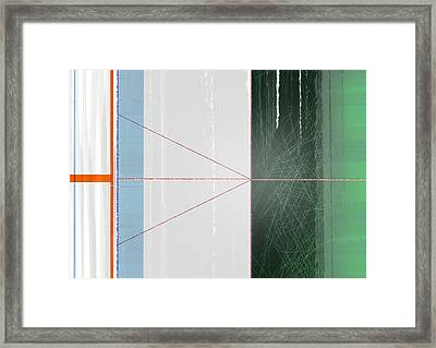 Abstract Green And Orange Framed Print by Naxart Studio