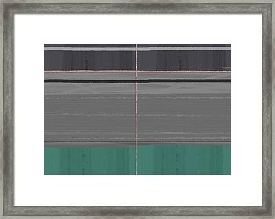 Abstract Grey And Green Framed Print by Naxart Studio